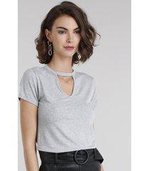 blusa feminina básica choker manga curta decote redondo cinza mescla