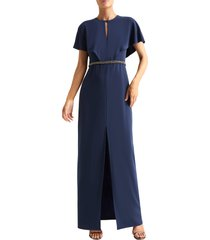 women's halston heritage cape sleeve gown, size 4 - blue