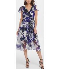 dkny flutter sleeve abstract satin burnout midi dress