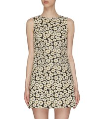 'clyde' all-over daisy print sleeveless mini dress