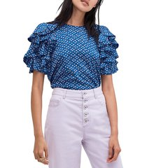 kate spade new york women's geometric ruffle-sleeve top - amulet blue - size xxs