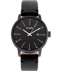 simplify quartz the 2500 black dial, genuine black leather watch 42mm