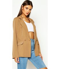 relaxed pinstripe double breasted blazer, brown