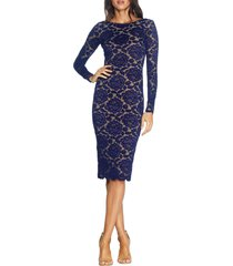 women's dress the population emery long sleeve lace cocktail dress, size small - blue