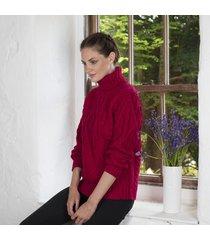 celtic aran turtle neck sweater red medium