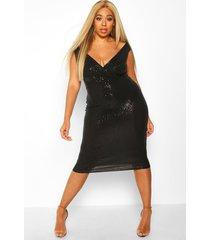 plus midi jurk met pailetten en boothals, zwart