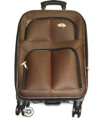 maleta de lona s1 mediana 24pulgadas- café con rojo