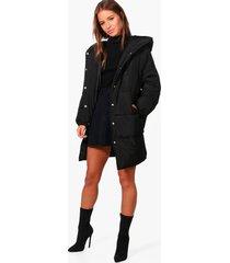 petite gewatteerde jas met capuchon en langere zoom achter, black
