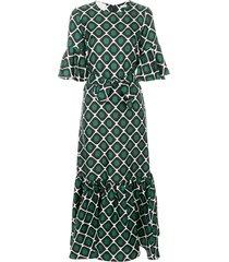 la doublej curly swing patterned dress - green
