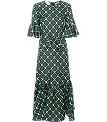 la doublej curly swing patterned dress - green