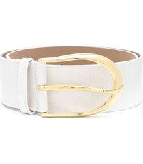 b-low the belt erin waist croco embossed belt - white