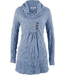 tunica a manica lunga in tessuto crinkle (blu) - bpc bonprix collection