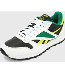 tenis running blanco-negro-verde reebok cl leather mark