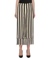 stripe chiffon fringe culotte pants