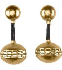 natori goldss cage round clip earrings, women's