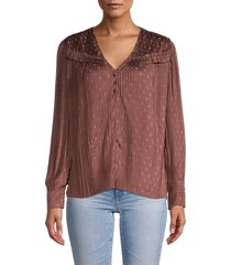 current air women's pleated polka dot blouse - brown - size xs