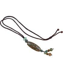 perle tibetane vintage nove collane con ciondoli a forma di agata collane lucky maglione per donna
