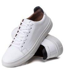 sapatênis casual social em couro a.andrade tênis sola caixa costurado branco