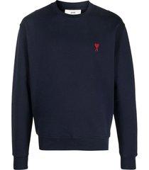 ami alexandre mattiussi blue cotton sweatshirt