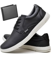 tãªnis sapatãªnis casual fashion com carteira masculino dubuy 1401el preto - preto - masculino - sintã©tico - dafiti