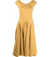 gentry portofino godet sleeveless dress - yellow