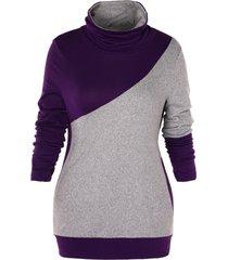 plus size turtleneck two tone sweatshirt