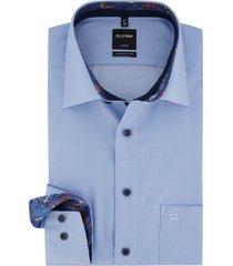 olymp luxor shirt mouwlengte 7 lichtblauw geruit