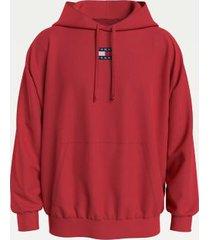 tommy hilfiger men's organic cotton tommy badge hoodie deep crimson - m