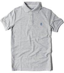 camiseta tipo polo tela pique bordado en frente jack suplies para hombre - gris