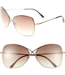 tom ford colette 63mm oversize sunglasses in shiny rose gold/dark brown at nordstrom