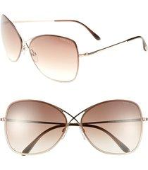 women's tom ford 'colette' 63mm oversize sunglasses - shiny rose gold/ dark brown