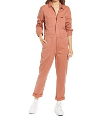 women's lee union all long sleeve utility jumpsuit, size x-small - coral