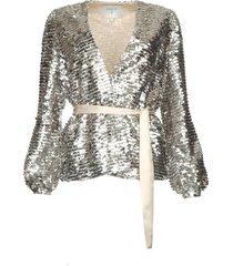 vest met pailletten quandy  zilver