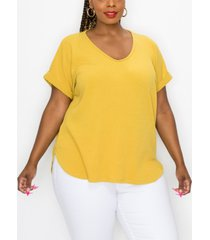 plus size rib v-neck rolled sleeve t-shirt