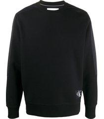 calvin klein jeans panelled logo sweatshirt - black
