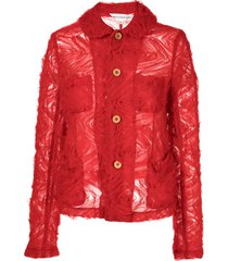 comme des garçons girl floral tulle single-breasted jacket - red