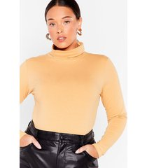 womens we're on a roll plus turtleneck bodysuit - nude