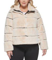 karl lagerfeld paris plus size faux-fur coat