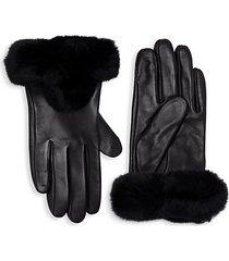 leather & rabbit fur-trim gloves