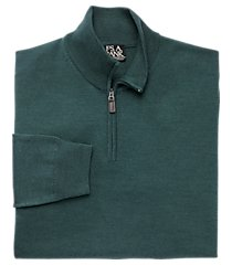 traveler collection merino wool quarter zip mock-neck men's sweater