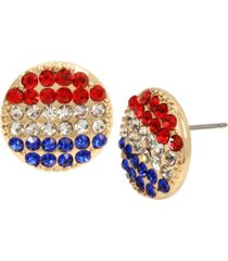 """betsey johnson round stud earrings in gold-tone metal, 0.6"""""""