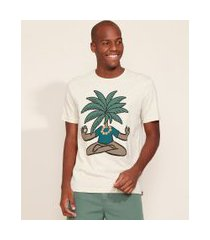 camiseta masculina coqueiro meditando manga curta gola careca off white