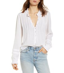 faherty willa button front peasant blouse, size large in white at nordstrom