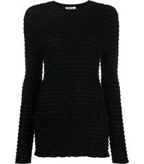acne studios long-sleeved seersucker top - black