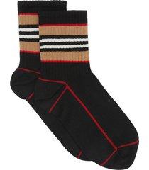 burberry icon stripe intarsia cotton blend ankle socks - black