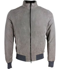 barba napoli suede bomber jacket with padded interior with shearling collar and zip closure. knitted edging