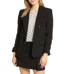 women's 1.state ruched sleeve stretch crepe blazer, size xx-small - black