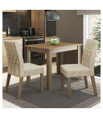 conjunto sala de jantar madesa vivi mesa tampo de madeira com 2 cadeiras rustic/imperial rustic/imperial