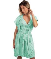camisola amamentaã§ã£o feminina com robe serra e mar modas verde ãgua - verde - feminino - poliã©ster - dafiti