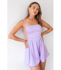 womens moonlight nights satin cut-out romper - lilac